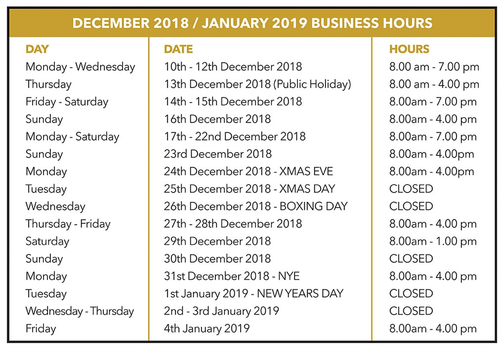 2953aabd2b Christmas opening hours